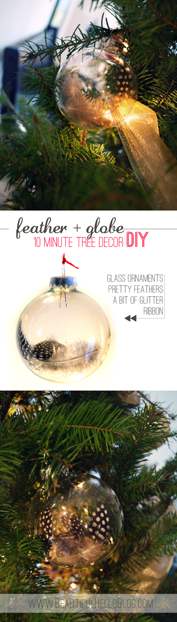 beautiful hello blog feather and glass Christmas ornament DIY