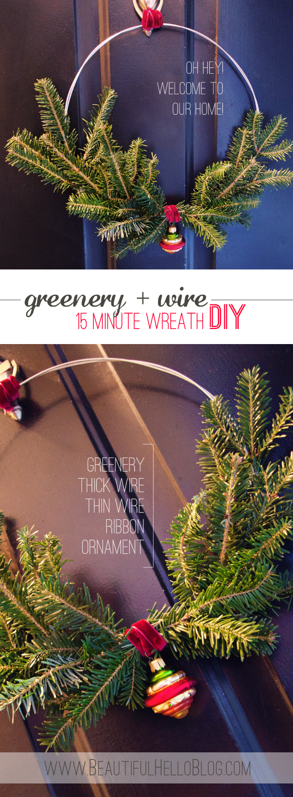beautiful hello blog greenery and wire wreath DIY