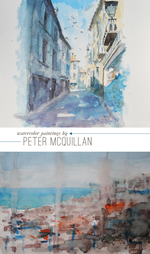 Peter McQuillan watercolor paintings as seen on Beautiful Hello Blog