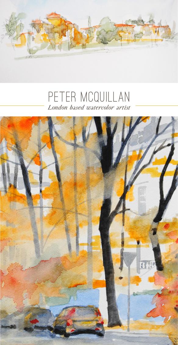 Peter McQuillan watercolor paintings as seen on Beautiful Hello Blog
