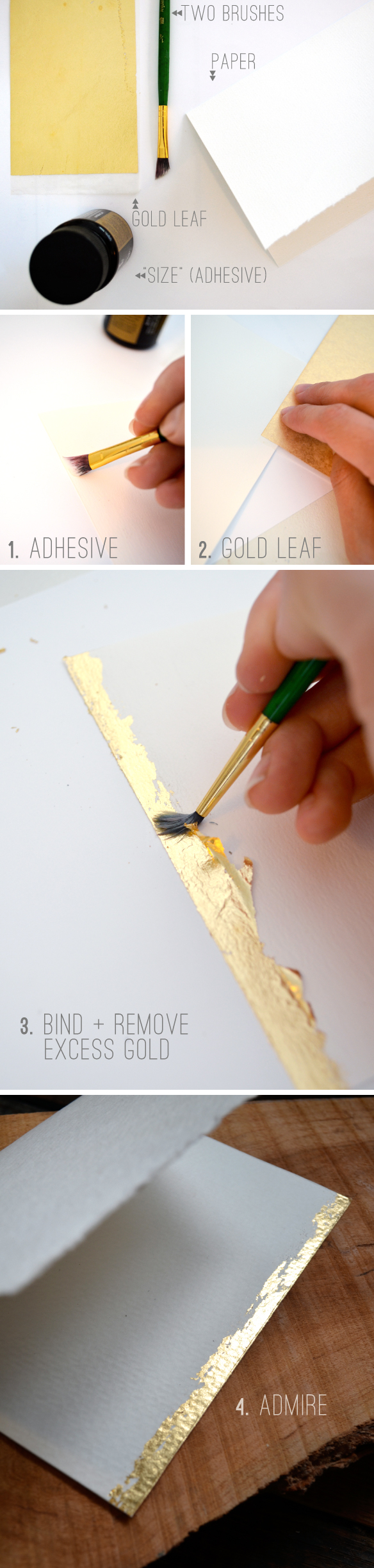 gold leaf greeting card DIY : BeautifulHelloBlog.com