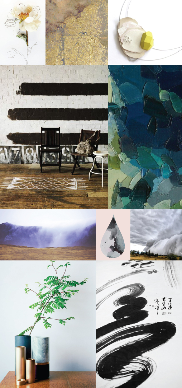 Painting Inspiration: black and white with teal and green